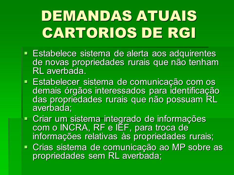 DEMANDAS ATUAIS CARTORIOS DE RGI