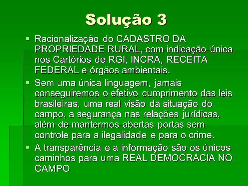 Solução 3 Racionalização do CADASTRO DA PROPRIEDADE RURAL, com indicação única nos Cartórios de RGI, INCRA, RECEITA FEDERAL e órgãos ambientais.