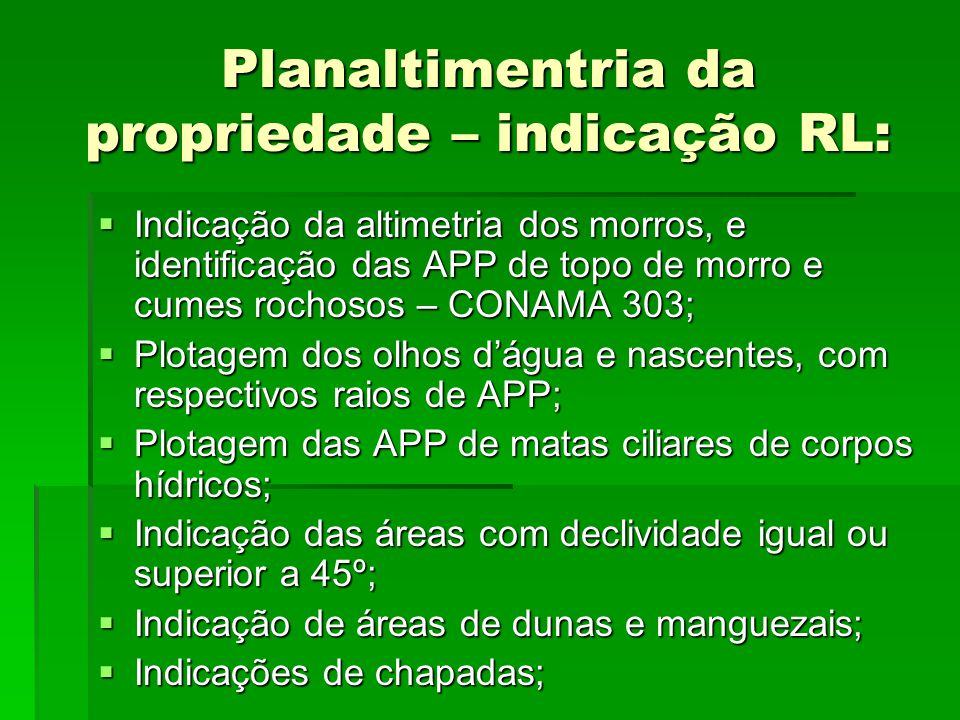 Planaltimentria da propriedade – indicação RL: