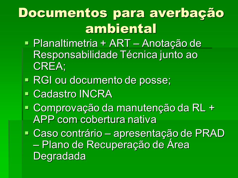 Documentos para averbação ambiental
