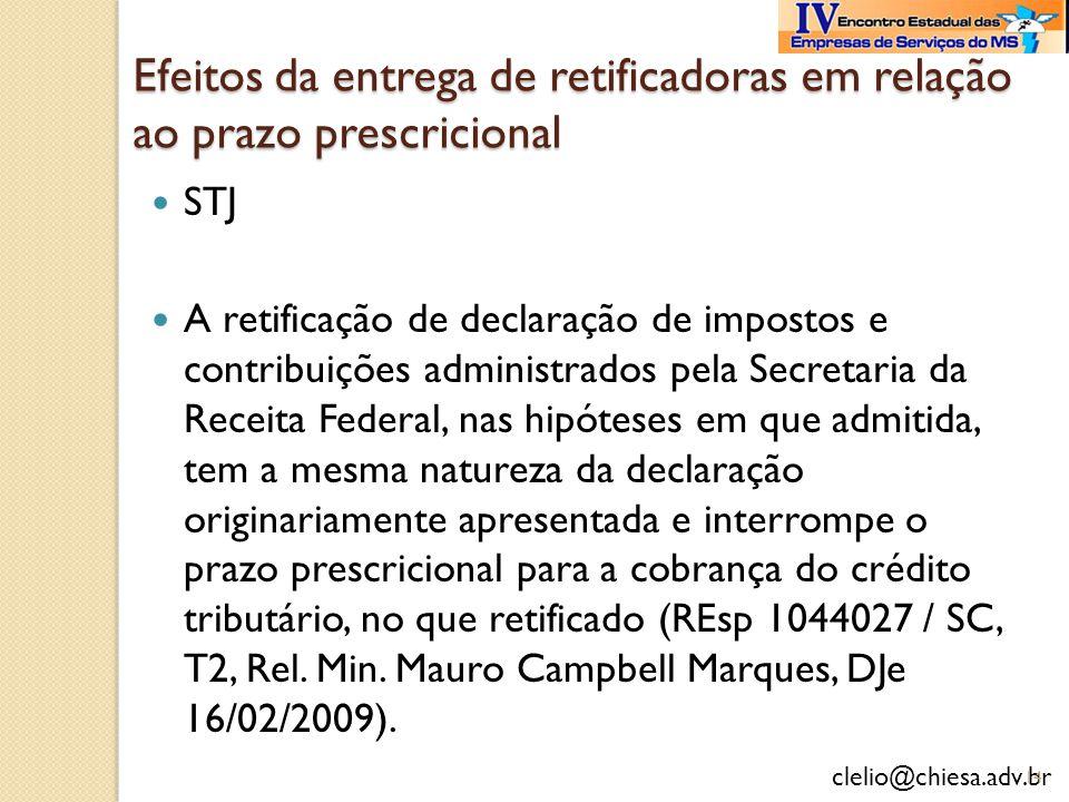 Efeitos da entrega de retificadoras em relação ao prazo prescricional