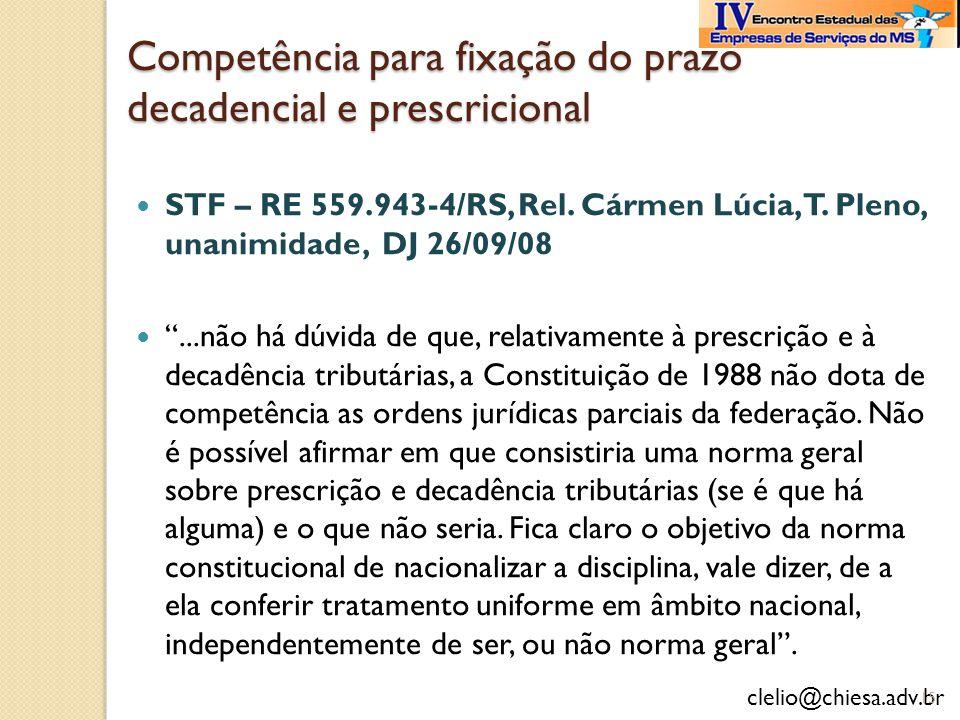 Competência para fixação do prazo decadencial e prescricional