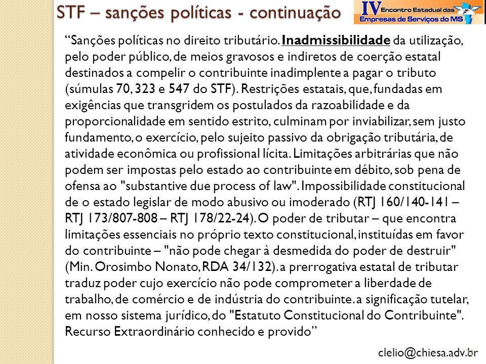 STF – sanções políticas - continuação