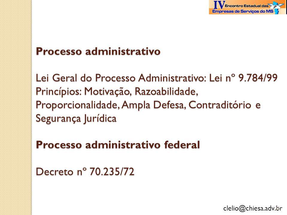 Processo administrativo Lei Geral do Processo Administrativo: Lei nº 9