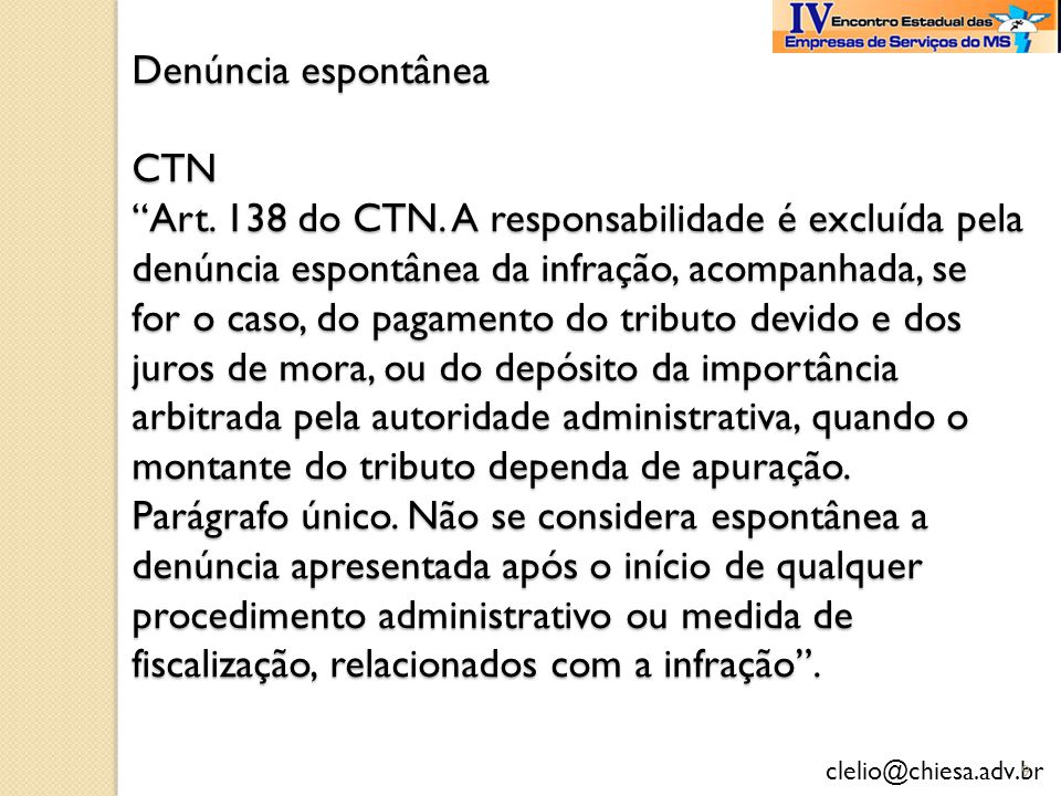 Denúncia espontânea CTN Art. 138 do CTN