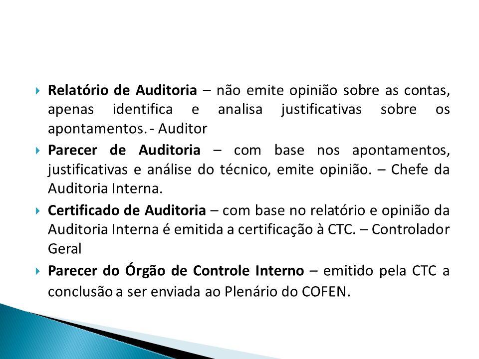 Relatório de Auditoria – não emite opinião sobre as contas, apenas identifica e analisa justificativas sobre os apontamentos. - Auditor