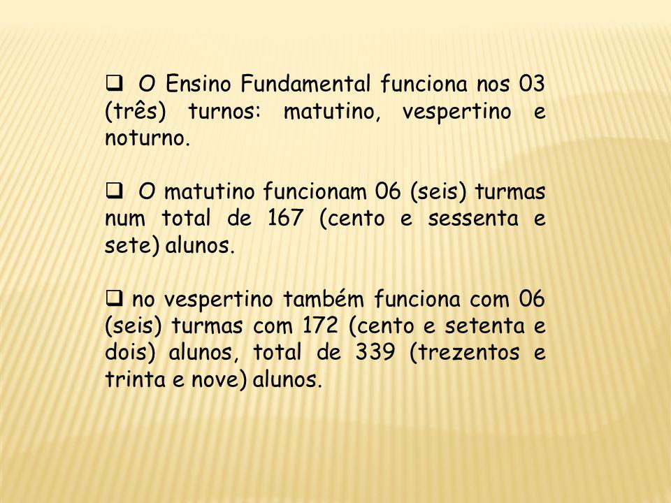 O Ensino Fundamental funciona nos 03 (três) turnos: matutino, vespertino e noturno.