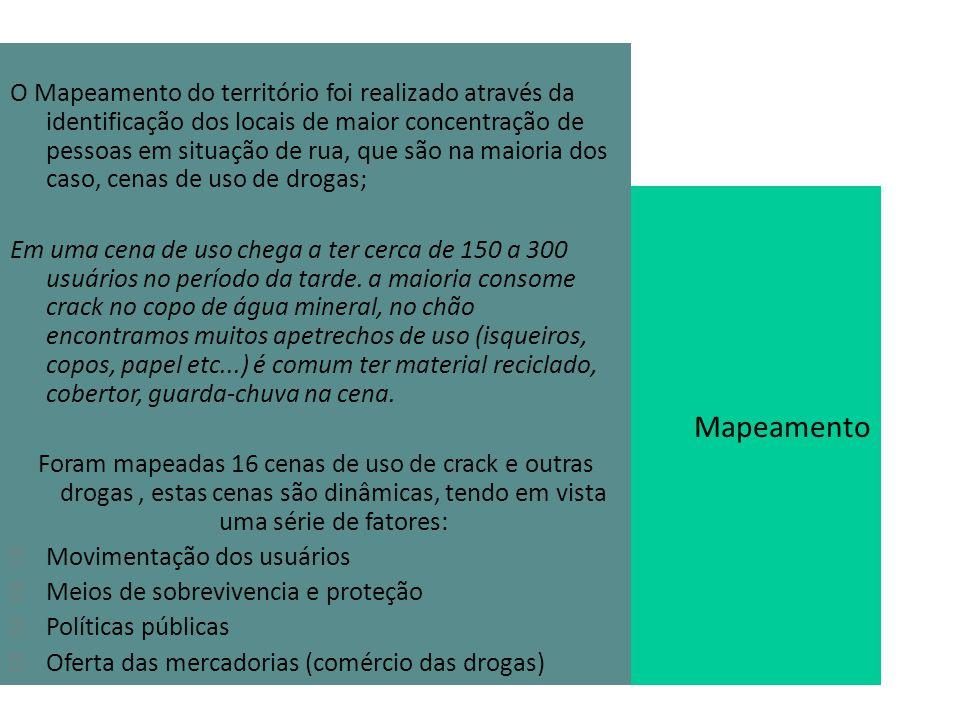O Mapeamento do território foi realizado através da identificação dos locais de maior concentração de pessoas em situação de rua, que são na maioria dos caso, cenas de uso de drogas;