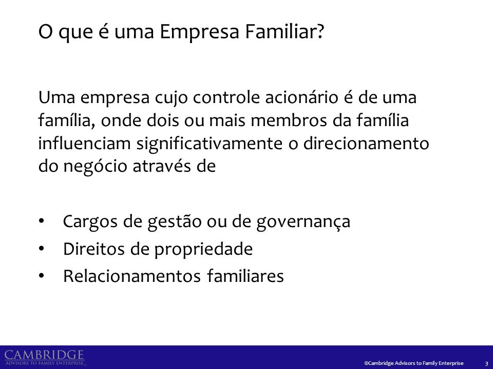Características do Sistema da Empresa Familiar