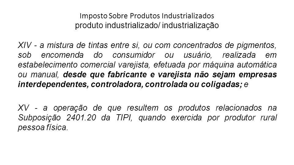 Imposto Sobre Produtos Industrializados produto industrializado/ industrialização