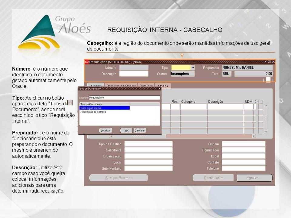 REQUISIÇÃO INTERNA - CABEÇALHO