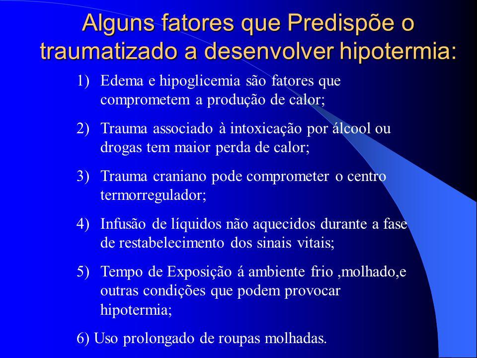 Alguns fatores que Predispõe o traumatizado a desenvolver hipotermia: