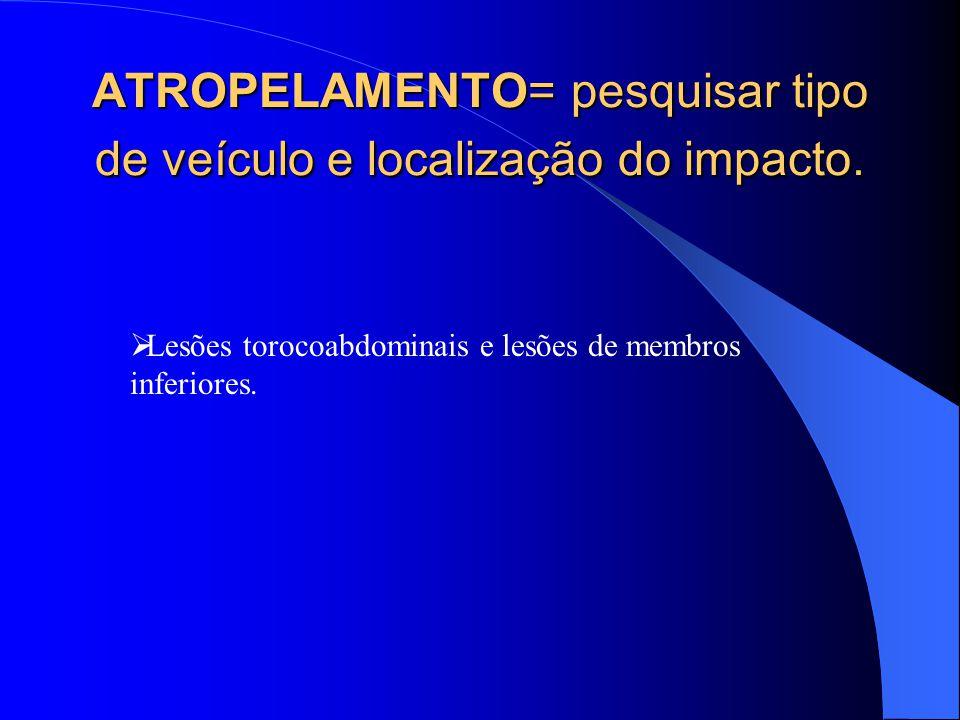 ATROPELAMENTO= pesquisar tipo de veículo e localização do impacto.
