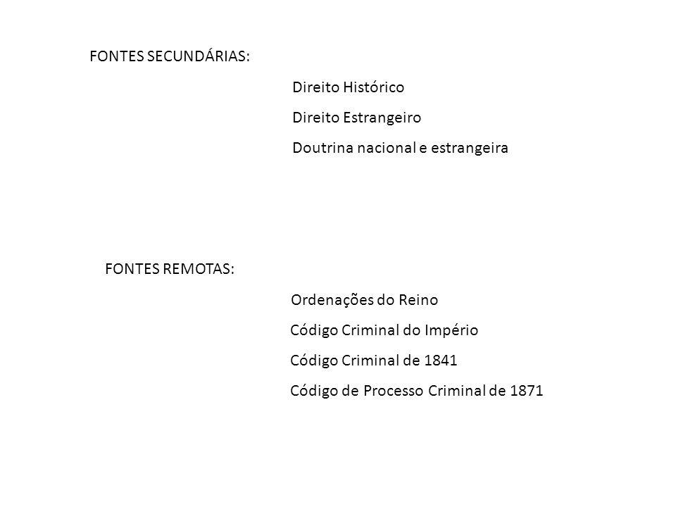 FONTES SECUNDÁRIAS: Direito Histórico. Direito Estrangeiro. Doutrina nacional e estrangeira. FONTES REMOTAS: