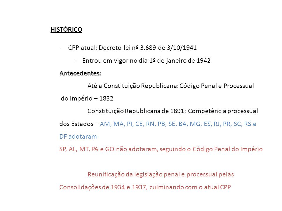 HISTÓRICO CPP atual: Decreto-lei nº 3.689 de 3/10/1941. Entrou em vigor no dia 1º de janeiro de 1942.