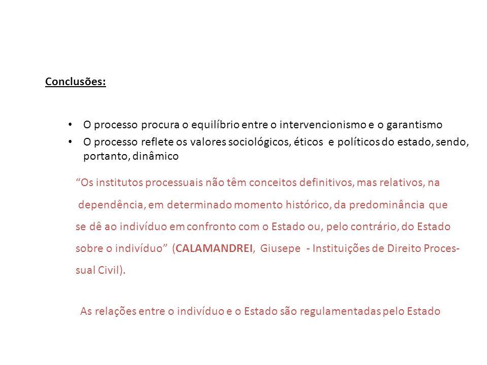 Conclusões: O processo procura o equilíbrio entre o intervencionismo e o garantismo.