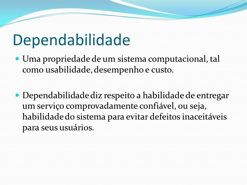 Dependabilidade Uma propriedade de um sistema computacional, tal como usabilidade, desempenho e custo.