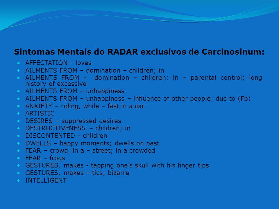 Sintomas Mentais do RADAR exclusivos de Carcinosinum:
