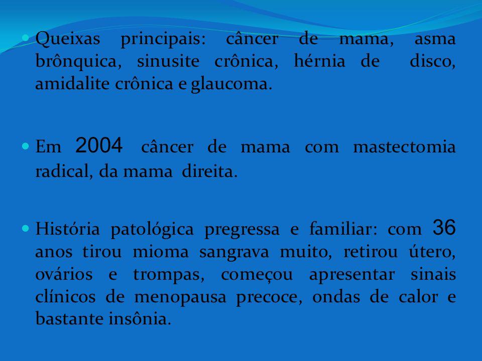 Queixas principais: câncer de mama, asma brônquica, sinusite crônica, hérnia de disco, amidalite crônica e glaucoma.