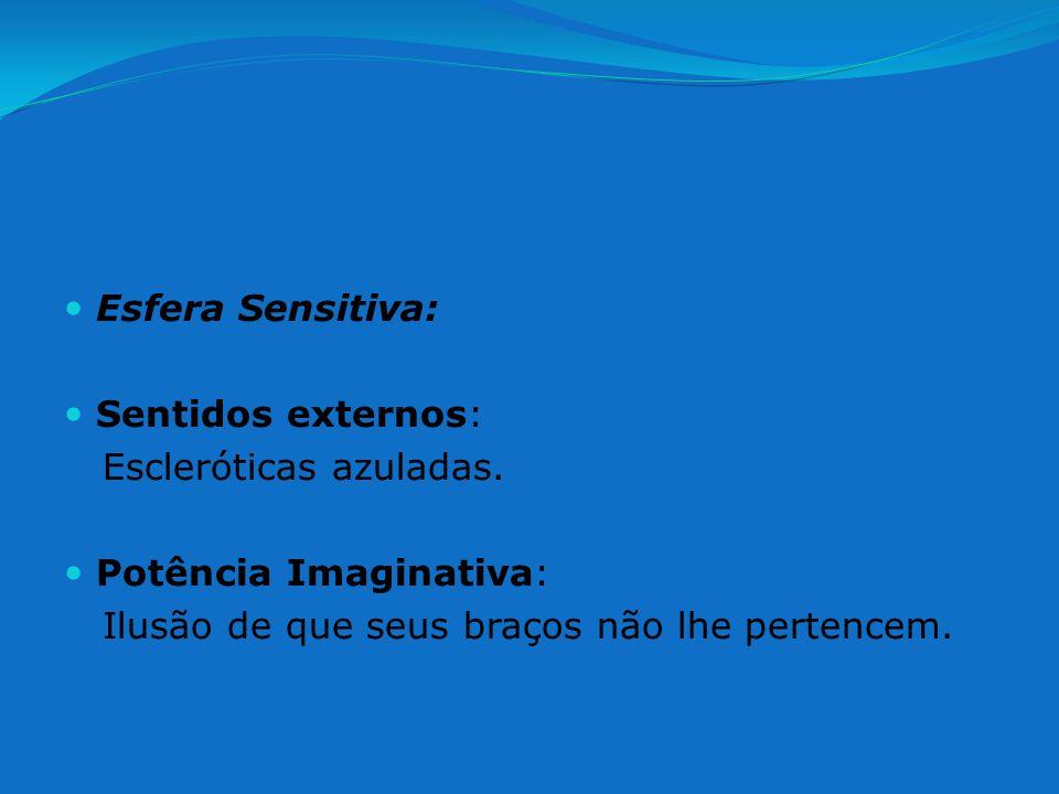 Esfera Sensitiva: Sentidos externos: Escleróticas azuladas.