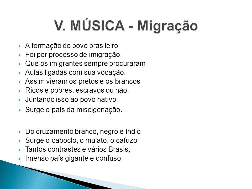 V. MÚSICA - Migração A formação do povo brasileiro