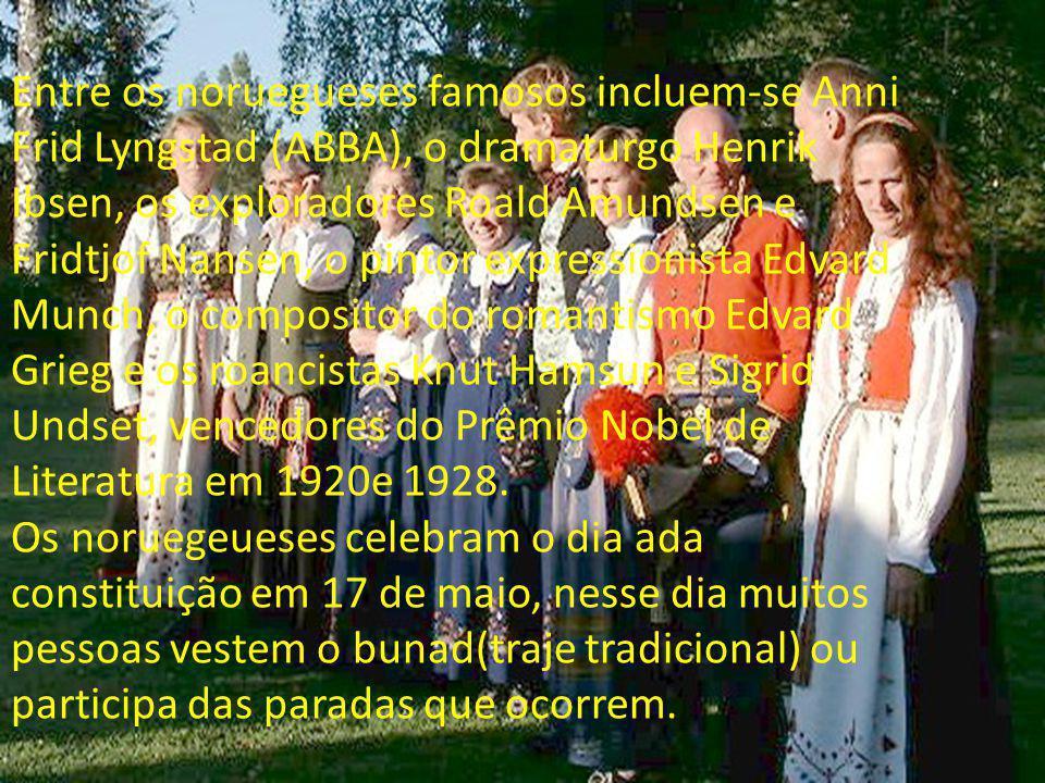 Entre os noruegueses famosos incluem-se Anni Frid Lyngstad (ABBA), o dramaturgo Henrik Ibsen, os exploradores Roald Amundsen e Fridtjof Nansen, o pintor expressionista Edvard Munch, o compositor do romantismo Edvard Grieg e os roancistas Knut Hamsun e Sigrid Undset, vencedores do Prêmio Nobel de Literatura em 1920e 1928.