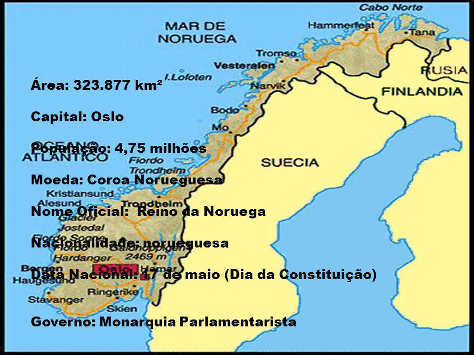Área: 323.877 km² Capital: Oslo. População: 4,75 milhões. Moeda: Coroa Norueguesa. Nome Oficial: Reino da Noruega.