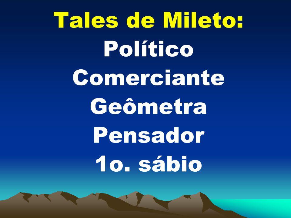 Tales de Mileto: Político Comerciante Geômetra Pensador 1o. sábio