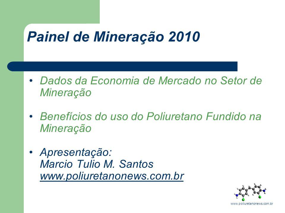 Painel de Mineração 2010 Dados da Economia de Mercado no Setor de Mineração. Benefícios do uso do Poliuretano Fundido na Mineração.