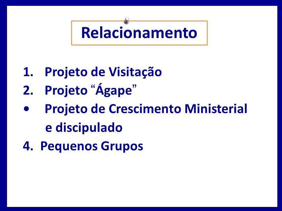 Relacionamento Projeto de Visitação Projeto Ágape