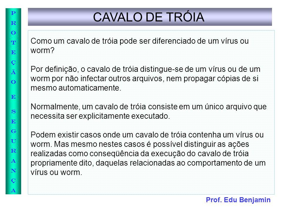 CAVALO DE TRÓIA Como um cavalo de tróia pode ser diferenciado de um vírus ou worm