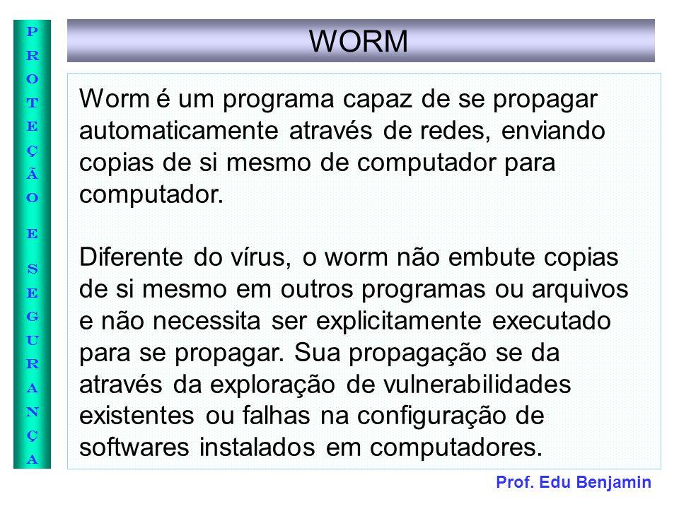 WORM Worm é um programa capaz de se propagar automaticamente através de redes, enviando copias de si mesmo de computador para computador.