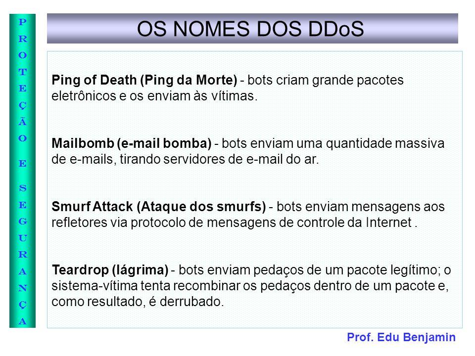 OS NOMES DOS DDoS Ping of Death (Ping da Morte) - bots criam grande pacotes eletrônicos e os enviam às vítimas.