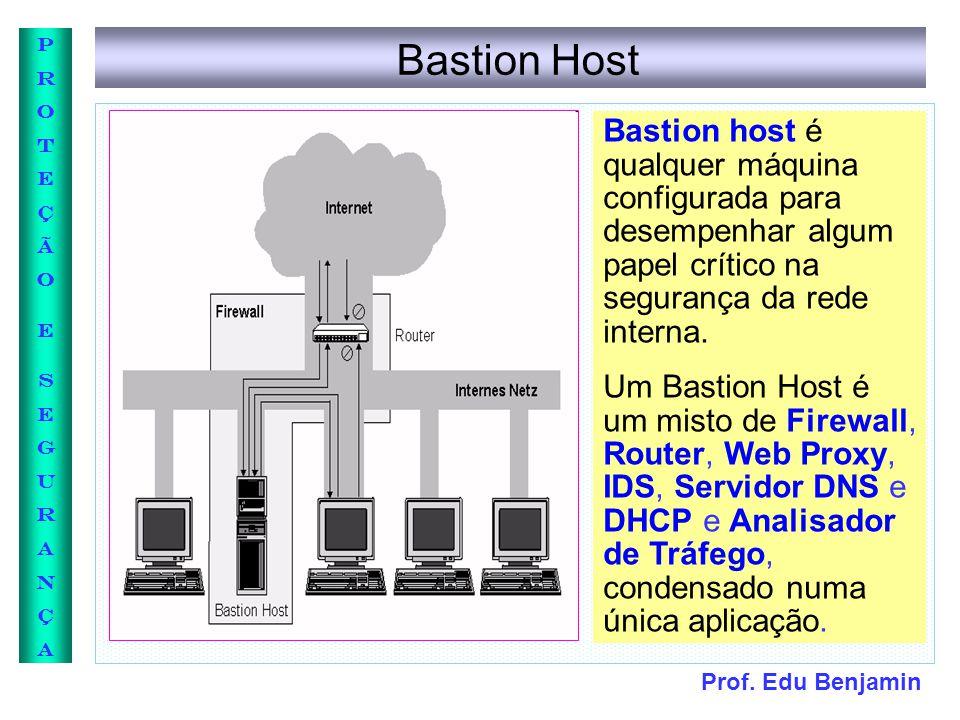 Bastion Host Bastion host é qualquer máquina configurada para desempenhar algum papel crítico na segurança da rede interna.