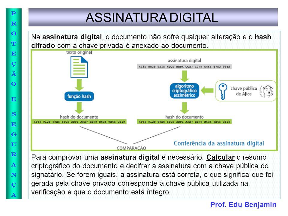 ASSINATURA DIGITAL Na assinatura digital, o documento não sofre qualquer alteração e o hash cifrado com a chave privada é anexado ao documento.