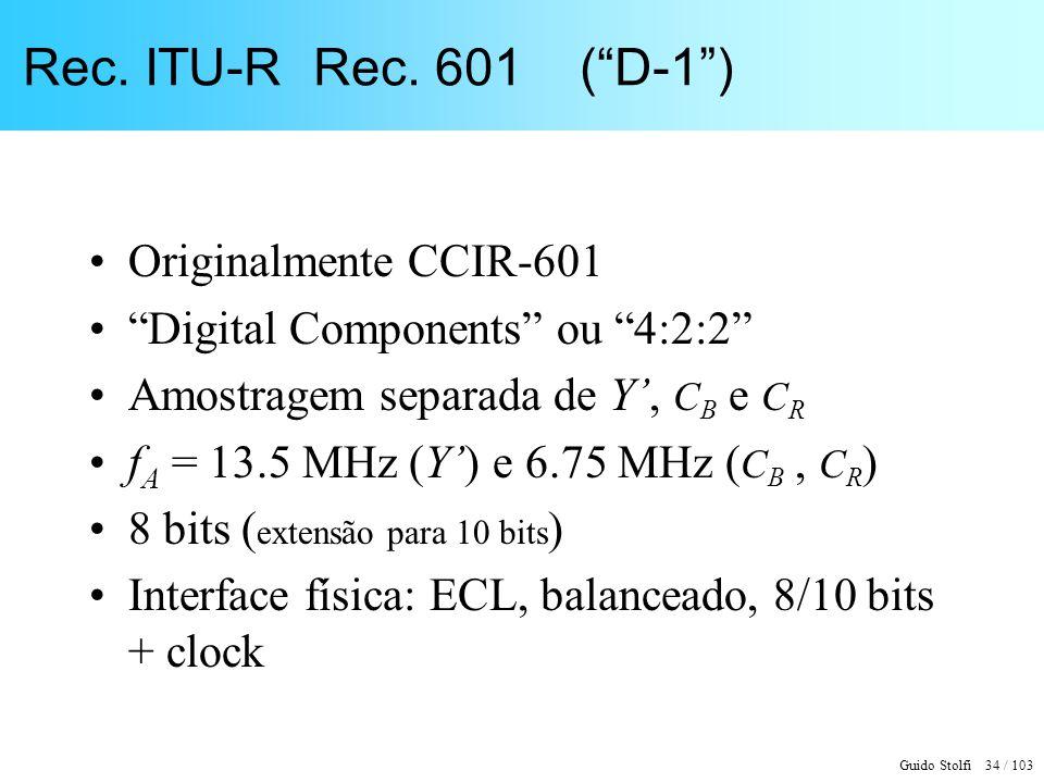 Rec. ITU-R Rec. 601 ( D-1 ) Originalmente CCIR-601