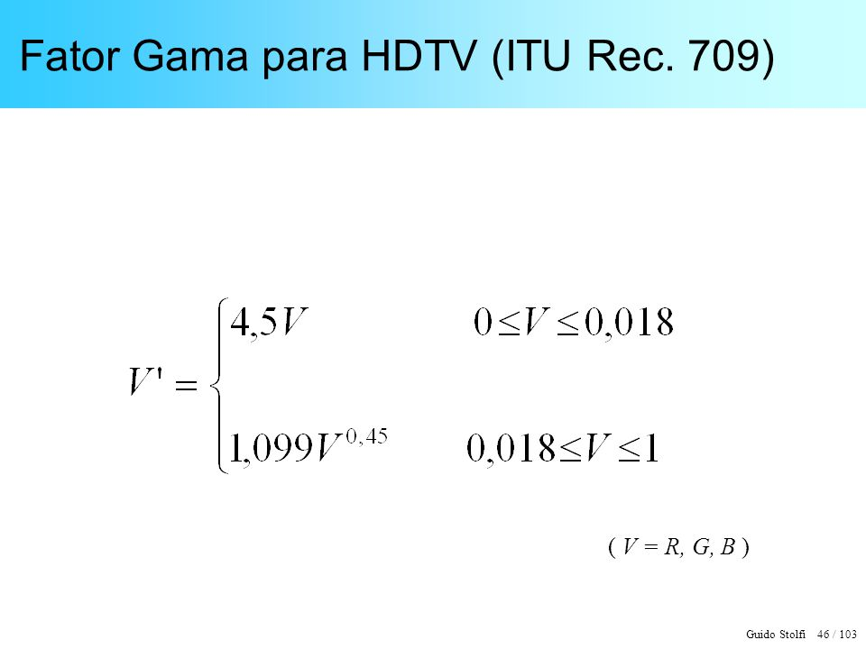 Fator Gama para HDTV (ITU Rec. 709)