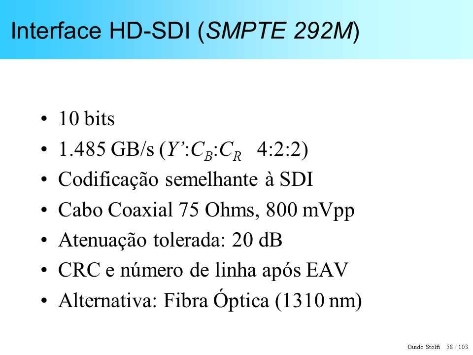 Interface HD-SDI (SMPTE 292M)