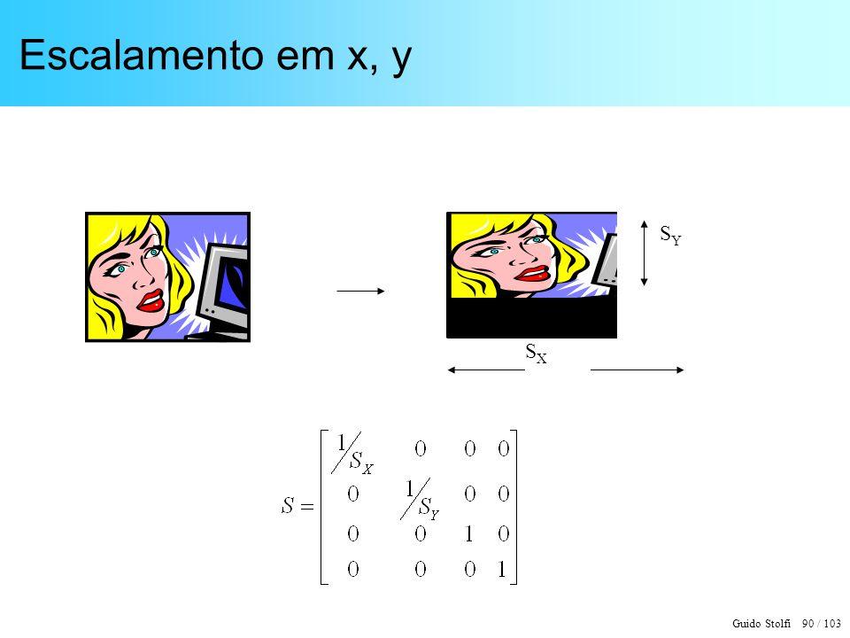 Escalamento em x, y SY SX
