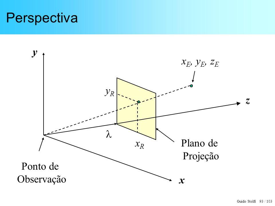 Perspectiva xE, yE, zE z y x  xR yR Plano de Projeção Ponto de