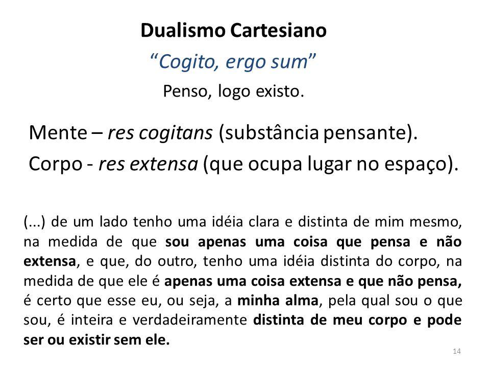 Mente – res cogitans (substância pensante).