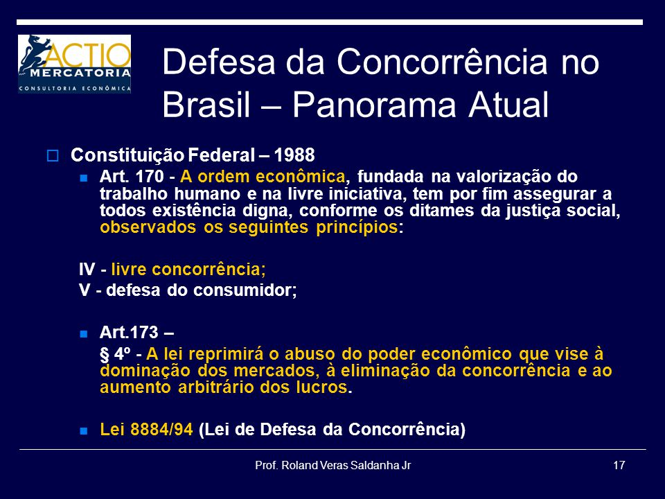Defesa da Concorrência no Brasil – Panorama Atual