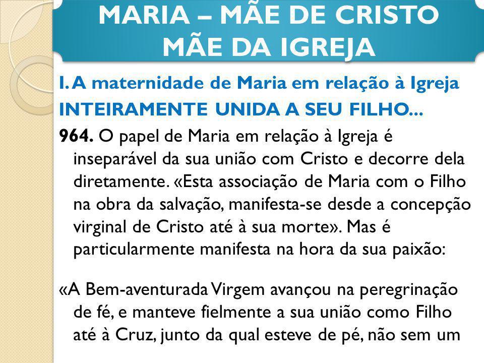 MARIA – MÃE DE CRISTO MÃE DA IGREJA