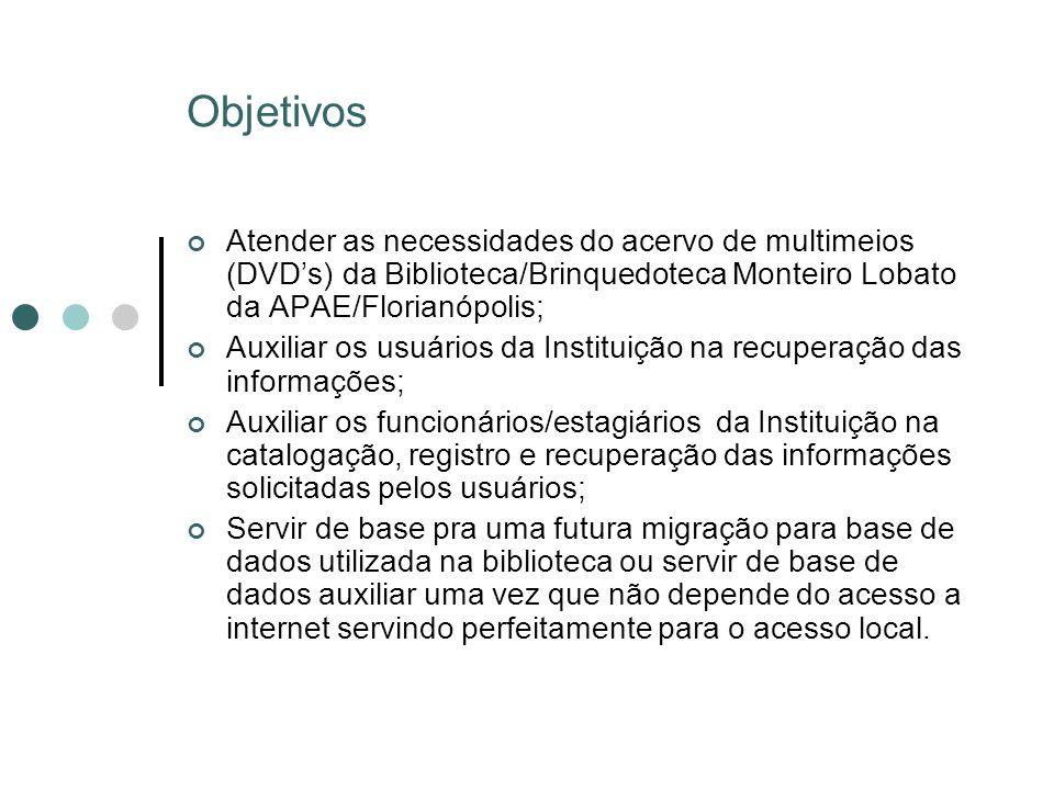 Objetivos Atender as necessidades do acervo de multimeios (DVD's) da Biblioteca/Brinquedoteca Monteiro Lobato da APAE/Florianópolis;