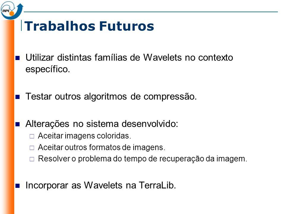 Trabalhos Futuros Utilizar distintas famílias de Wavelets no contexto específico. Testar outros algoritmos de compressão.