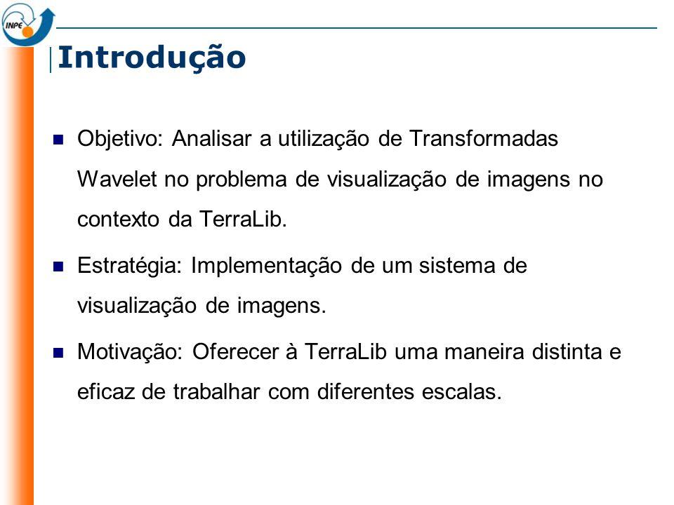 Introdução Objetivo: Analisar a utilização de Transformadas Wavelet no problema de visualização de imagens no contexto da TerraLib.