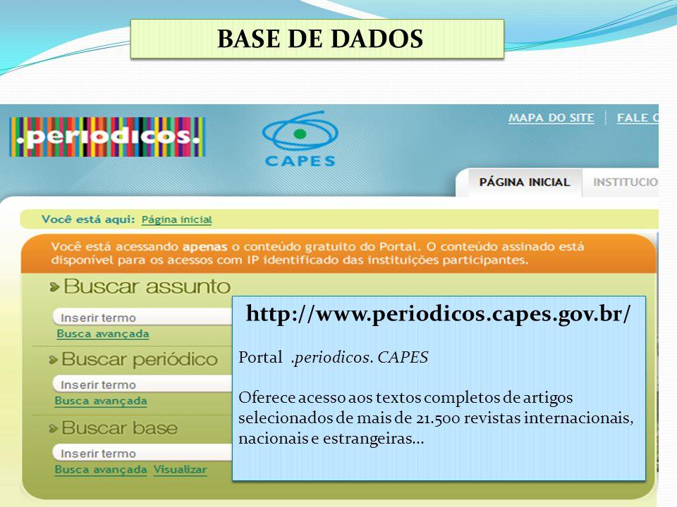 BASE DE DADOS http://www.periodicos.capes.gov.br/