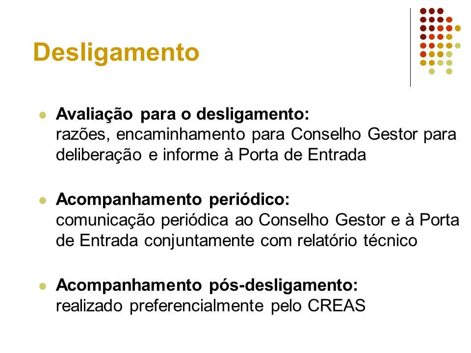 Desligamento Avaliação para o desligamento: razões, encaminhamento para Conselho Gestor para deliberação e informe à Porta de Entrada.