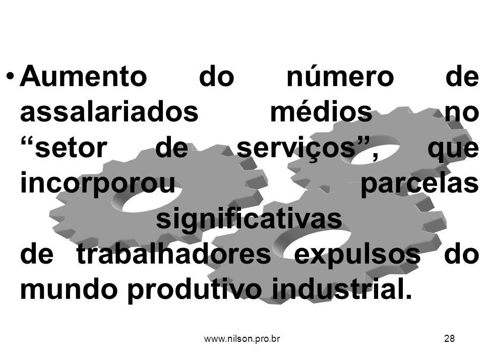 Aumento do número de assalariados médios no setor de serviços , que incorporou parcelas significativas de trabalhadores expulsos do mundo produtivo industrial.