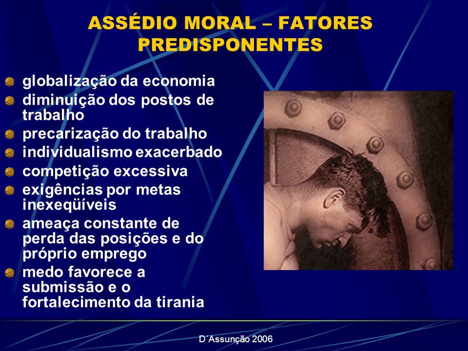 ASSÉDIO MORAL – FATORES PREDISPONENTES